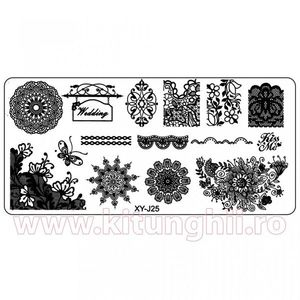 Matrita Metalica Stampila Unghii XY-J25 - Mandala imagine