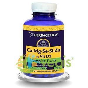 Complex Forte (Ca+Mg+Se+Si+Zn) Cu Vitamina D3 2000UI 120Cps imagine