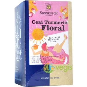 Ceai Turmeric Floral cu Flori Trandafir si Soc Ecologic/Bio 18dz imagine