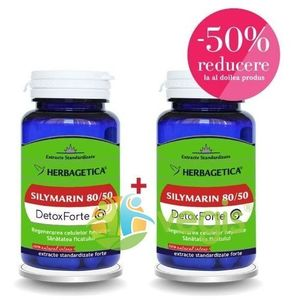 Silymarin 80/50 (Silimarina) Detox Forte 30Cps Pachet 1+1-50% imagine