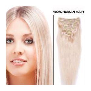 Extensii clip - on Veritable cu 12 piese, lungime 65 cm , culoare blond platinat ( # 613 ) imagine
