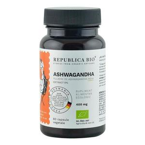 Ashwagandha Ecologica din India (400 mg) - extract 5% Republica BIO, 60 capsule (29, 7 g) imagine
