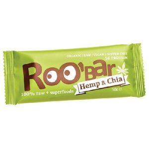 Roobar Baton Proteic Raw Bio cu Chia si Canepa 30gr imagine