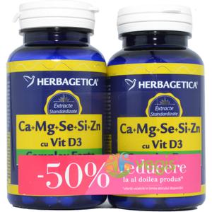 Complex Forte (Ca+Mg+Se+Si+Zn) Cu Vitamina D3 2000UI 60Cps Pachet 1+1-50% imagine