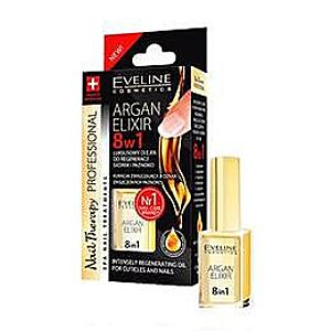 Ulei tratament pentru unghii si cuticule, Eveline Cosmetics, elixir 8 in 1 cu ulei de argan 12ml imagine