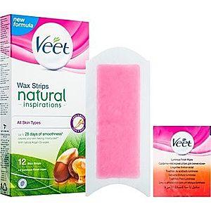 Veet Wax Strips Natural Inspirations™ benzi depilatoare cu ceara rece cu ulei de argan imagine