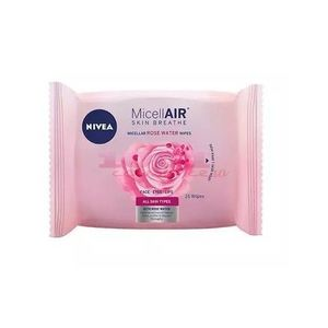 NIVEA MICELLAIR SKIN BREATHE MICELLAR ROSE WATER SERVETELE DEMACHIANTECU APA DE TRANDAFIRI 25 BUCATI imagine