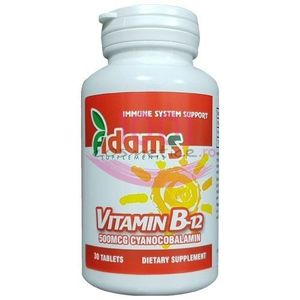 ADAMS VITAMIN B-12 500MCG SUPLIMENTE ALIMENTARE 30 TABLETE imagine
