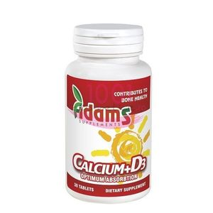 ADAMS CALCIUM + D3 SUPLIMENTE ALIMENTARE 30 TABLETE imagine