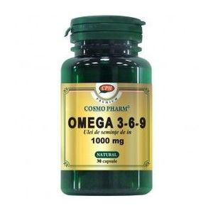 Omega 3-6-9 Ulei de seminte de in 1000mg, 30 capsule imagine