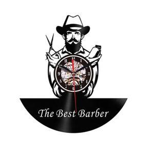 Wall clock - The best barber – Black imagine
