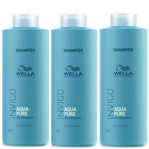 Pachet 3x Sampon Purificator impotriva Excesului de Sebum - Wella Professionals Invigo Aqua Pure Purifying Shampoo, 1000ml imagine