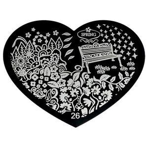 Matrita Metalica Stampila Unghii Hearts #26 imagine