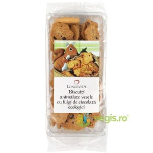 Biscuiti Animalute Vesele cu Fulgi de Ciocolata Ecologici/Bio 140g Longevita imagine
