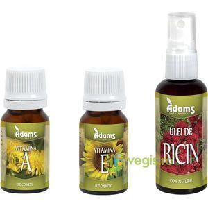 Uleiuri Cosmetice Vitamina A + Vitamina E + Ulei de Ricin Pachet Promo imagine