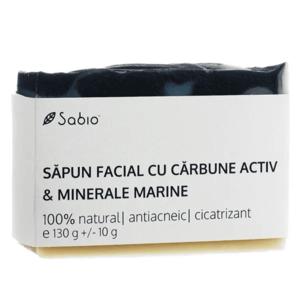 Sapun facial cu carbune activ si minerale marine, 130g, Sabio imagine
