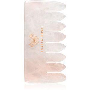 Crystallove Rose Quartz Comb accesoriu de masaj de par si de corp imagine