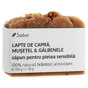 Sapun natural pentru pielea sensibila cu lapte de capra + musetel si galbenele, 130g, Sabio imagine